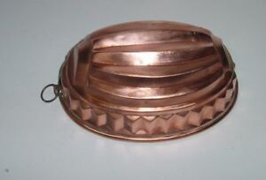 Antique French Copper Oval Cake Mold 1900
