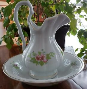 Beautiful Large Vintage 12 Floral Pitcher 13 Wash Basin Bowl Set Rare