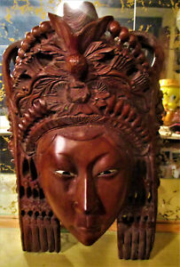 Vtg Asian Chinese Beautifully Hand Carved Wooden Goddess Wall Mask
