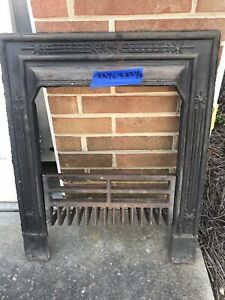 Antique Cast Iron Fireplace Insert With Grate