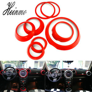 8pcs Car Auto Styling Interior Decals Sticker For Mini Cooper Countryman R60 Red