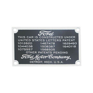 Model A Ford Data Patent Plate Mounts On Firewall 28 22153 1