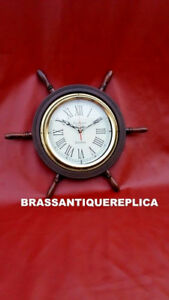 Collective Nautical Deluxe Class Wood And Brass Ship Wheel Clock New Year