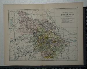 C 1890 Map The West Riding Of Yorkshire