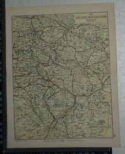 C 1890 Map The Yorkshire Manufacturing Districts Bradford Sheffield Leeds
