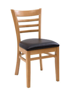 New Gladiator Wooden Natural Ladder Back Restaurant Chair With Black Vinyl Seat
