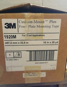 3m 1920m Cushion Mount Foam Plate Mounting Tape 18 x25yd For 20 Mil Application
