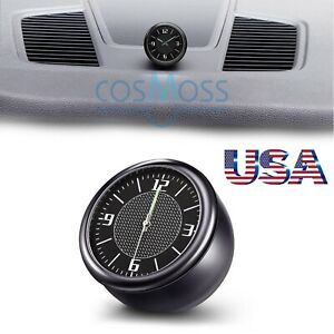 Car Clock For Dash Dashboard Clocks Small Round Carbon Fiber For Automotive