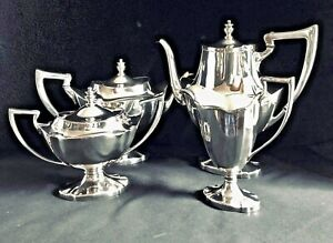 Antique Lawrence B Smith Art Deco Silver Plate Coffee And Tea Service