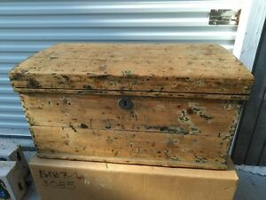 Antique Painted Travel Trunk Detroit Michigan 33 3 4 X 18 1 2 X 17