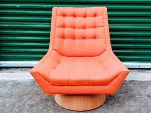 Vintage Mid Century Modern Swivel Lounge Chair Teak