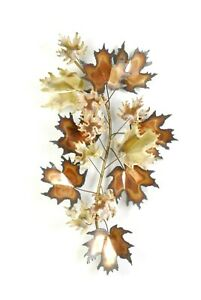 Vintage Mid Century Signed Curtis Jere 1970s Maple Leaves Wall Sculptures