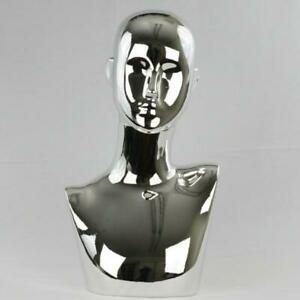 Plastic Chrome Female Abstract Mannequin Display Head