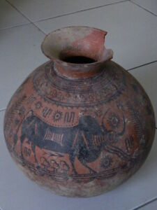 Ancient Huge Size Teracotta Painted Pot With Bulls Indus Valley 2500 Bc Ik509