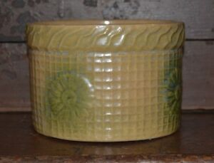 Vintage Primitive Antique Stoneware Crock Yellow Ware Daisy And Waffle Pattern
