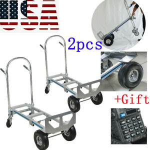 2x Aluminum Hand Truck 770lbs Convertible Foldable Dolly 4 Wheel Cart gift New