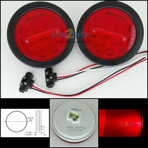2 Red 4 Round Led 18 Diode Stop Turn Tail Light Optronics Truck Trailer