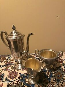 Rare 1890 Antique Dominick Haff Sterling Silver Tea Pot Creamer Sugar Bowl