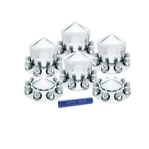 Set Chrome Semi Truck Front Rear Axle Covers W Pointed Hubcaps 33mm Lug Nuts