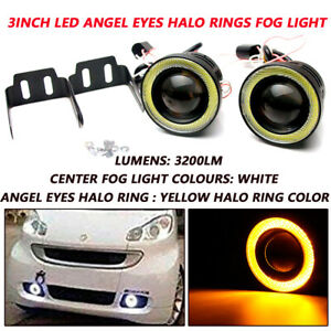 Pair 3 In 3200lm Led Projector Fog Light Round Amber Angel Eye Halo 4x4 Truck Rv