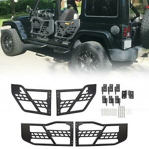 For 2007 2018 Jeep Wrangler Jk 4 Dr Black Textured Offroad Tubular Tube Doors