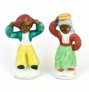 Vintage India Indian Boy Girl Salt And Pepper Shakers 4 Ceramic S