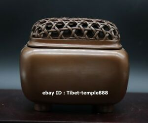 12 Cm Chinese Red Copper Bronze Bamboo Basket Incense Burners Censer Incensory