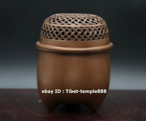 12 Cm Chinese Red Copper Bronze Crate Basket Incense Burners Censer Incensory
