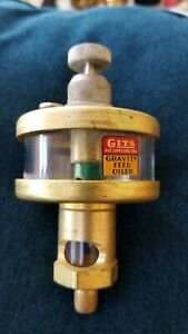 Gits Adjustable Flow Gravity Feed Oiler brass With Glass Bowl New Old Stock