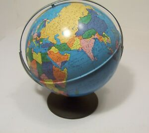 Ohio Art World Map Globe With Stand Metal 11 In Rotating Vintage