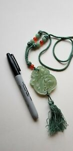 Large Antique Chinese Carved Both Sides Shou Lao And Deer Jade Pendant Necklace