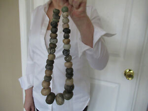 Authentic Pre Columbian Jade Bead Necklace Ancient Mayan Maya 300 900ad
