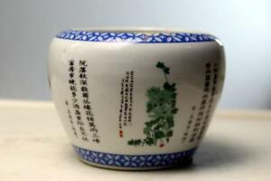 Chinese Porcelain Brush Pot W Poems Republic Era