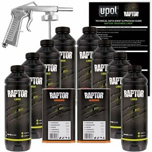 U Pol Raptor Black Urethane Spray On Truck Bed Liner Kit W Free Spray Gun 8 Li