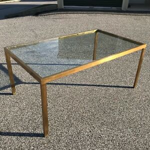 Mid Century Modern Solid Brass Rectangular Dining Table With Inset Glass