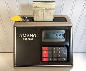 Amano Mjr 8000 Computerized Time Recorder time Clock W key And Manual