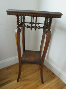 Antique Victorian Oak Wood Stick Ball Plant Stand Pedestal Table