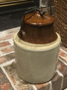Rare Vtg Red Wing 10 Tall 1 Gallon 2 Tone Stoneware Canister W Locking Lid F3