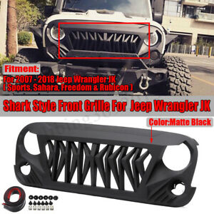 Front Shark Grille Grill For Jeep Wrangler Jk Jku Unlimited Rubicon Sahara 07 18