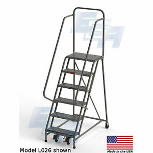 Ega L008 Industrial Rolling Ladder 6 step 20 Wide Perforated Gray 450lb