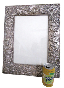 Huge 19 5 Sterling Silver Picture Frame Easel Birds Flowers Repousse