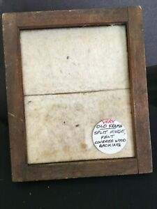 Small Vintage Picture Frame W Hinged Wooden Back Felt Covered Sturdy