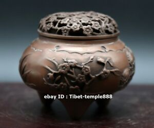 9cm China Red Copper Bronze Plum Blossom Flower Incense Burners Censer Incensory