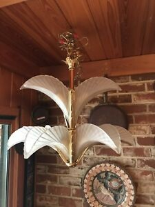 Vintage Murano Chandelier Palm Tree Leaves Mazzega