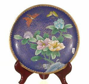 Antique Chinese Multicolored Cloisonne Plate Wall Plaque