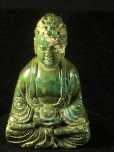Chinese Old Natural Jade Hand Carved Buddha Statue Pendant Cx033