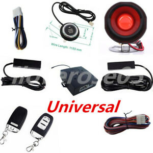 Keyless Entry Car Alarms Security Trim Kit W Engine Ignition Push Button Starter