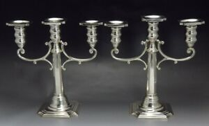Handsome Pair Vtg Redlich Sterling Silver 3 Light Candelabra