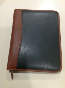 Classic Size Seven 1 Rings Brown Trim Green Leather Day timer Planner Binder