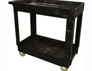 Rubbermaid Commercial Heavy Duty Pocket Shelf Utility Cart 9t66 Black